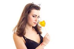 Young woman in black bra with candy. Elegant young woman with long brown hair and cat ears on her head wearing in black lace bra holding heart-shaped candy on Royalty Free Stock Photos