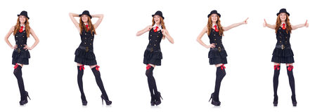 The young woman in black costume isolated on white Stock Photo