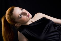 Young woman in black dress Royalty Free Stock Photo