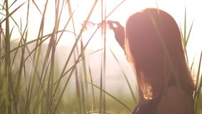 Young woman in a black dress puts on sunglasses backlight stock footage
