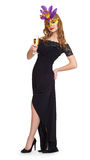 Young woman in black gown on white. Wineglass champagne in hands. Royalty Free Stock Photography