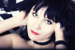 Young woman with black hair Royalty Free Stock Photos