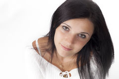 Young woman  with black hair Stock Image