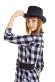 Young woman with black hat Stock Images