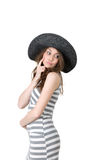 Young woman in a black hat thinking about something Stock Image