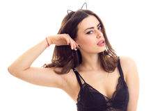 Young woman in black lingerie Stock Images