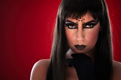 Young woman with black makeup Royalty Free Stock Image