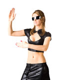 Young woman in black martial art pose Royalty Free Stock Images