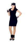 Young woman in a black mini dress Royalty Free Stock Photography