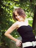 Young woman in black outfit Royalty Free Stock Photo