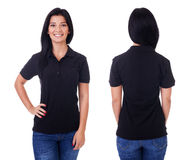 Young woman in black polo shirt stock image