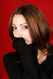Young woman with black pullover Royalty Free Stock Images