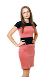 Young woman in black and red dress Stock Images