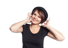 Young woman in black shirt smiling Stock Image