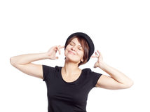 Young woman in black shirt smiling Stock Images
