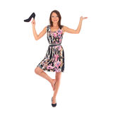 Young woman with black shoes Royalty Free Stock Images