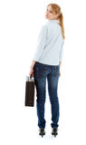 Young woman with black suitcase Stock Photos