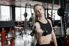 Young woman in black top doing exercises with dumbbells at the gym. Royalty Free Stock Photos