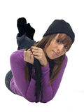 Young woman in a black tuque and scarf Stock Image