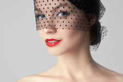 Young Woman in Black Veil Stock Images