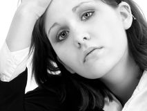 Young Woman in Black and White royalty free stock image