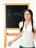 Young woman & blackboard Stock Photography