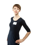 Young woman with a blank badge Royalty Free Stock Image