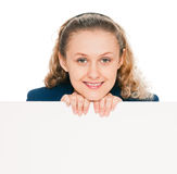 Young woman with blank billboard Royalty Free Stock Photo