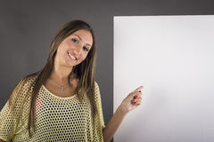 Young woman with blank board banner Royalty Free Stock Images