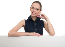 Young woman with blank board banner, isolated Stock Images