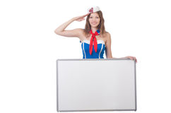 Young woman with blank board Royalty Free Stock Image