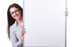 Young woman with blank board Royalty Free Stock Photo