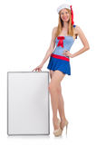 Young woman with blank board Stock Photo