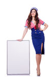 Young woman with blank board Stock Images