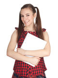 Young woman with blank card Royalty Free Stock Images