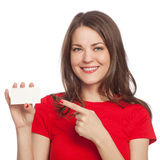 Young woman with blank card Royalty Free Stock Photography