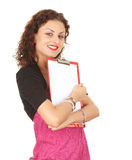 Young woman with blank clipboard Royalty Free Stock Images