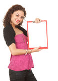 Young woman with blank clipboard Royalty Free Stock Photo
