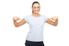 Young woman in blank gray t-shirt royalty free stock images