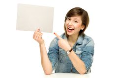 Young woman with blank poster Royalty Free Stock Image