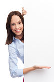 Young woman with blank poster Royalty Free Stock Photography