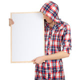 Young woman with blank sign Royalty Free Stock Images