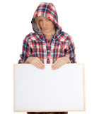 Young woman with blank sign, billboard Royalty Free Stock Image