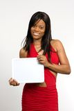 Young Woman With Blank Slate Stock Images