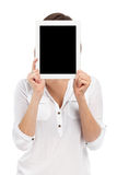 Young woman and blank touchpad Royalty Free Stock Photo