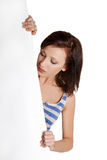 Young woman with blank white board. Stock Image