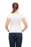 Young woman in blank white t-shirt Stock Photos