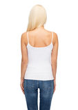 Young woman in blank white tank top Stock Photography