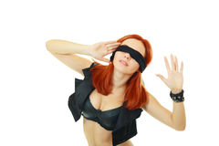 Young woman blindfold Stock Images