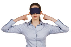 Young woman with a blindfold. On white background Royalty Free Stock Images